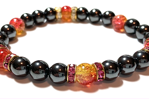 Healing Hematite with crystal beads and rhinestones