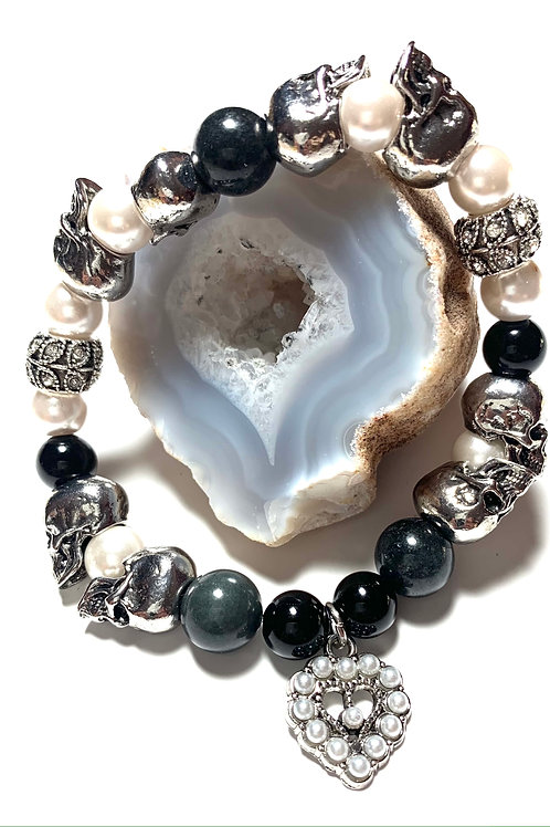 Metal silver skulls with pearl heart charm and pearls