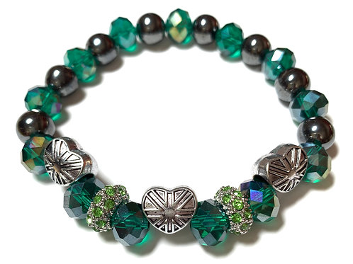 Healing Hematite with 3 Union Jack hearts green and rhinestone connectors