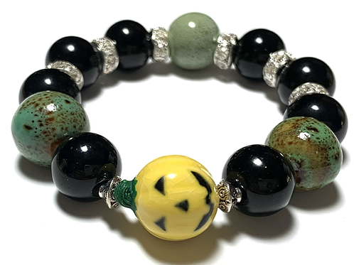 Chunky large ceramic beads with yellow pumpkin