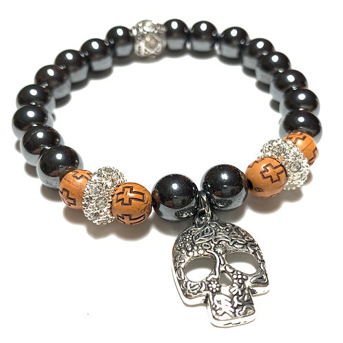 Healing Hematite with Filigree Skull Charm and rhinestones