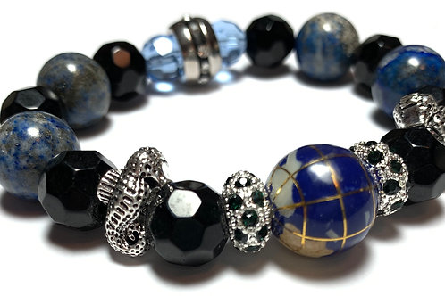 Chunky healing large Lapis and Black Crystal Beads with seahorse charms
