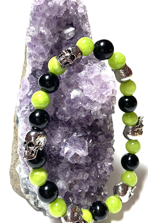 Green and Black beads with metal skulls
