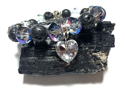 Lava beads with crystal heart hanging charm