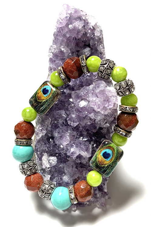 Healing gold sandstone with Peacock ceramic beads and rhinestones and turquoise