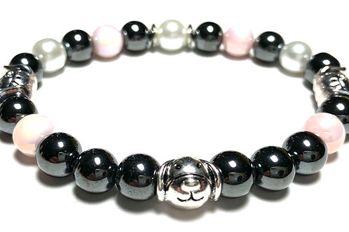 Healing Hematite beads with pink and glass pearls with 3 Metal Puppy Charms