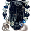 Thumbnail: Lava beads and crystal beads with filigree Skull hanging charm
