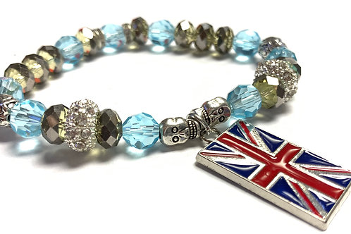 Crystal beads with Union Jack Charm rhinestone connector