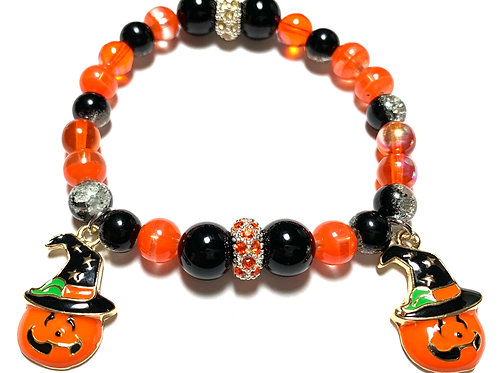 Fun Halloween orange and black beads with Enamel charms
