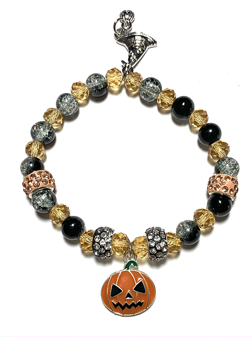 Enamel Pumpkin and Witches Hat charms with rhinestone mixed beads