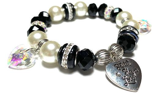 Faith Hope Love Charm with Crystal Hearts with Rhinestones and Chunky beads