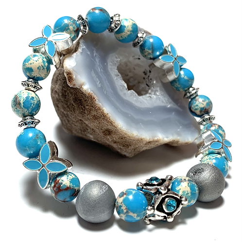 Stunning Druzy quartz stone with Blue Imperial Jasper Gemstone beads