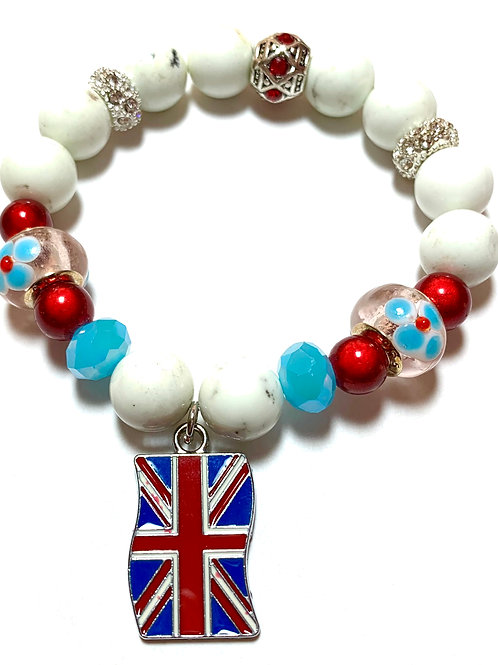 White magnesite beads with Union Jack Charm