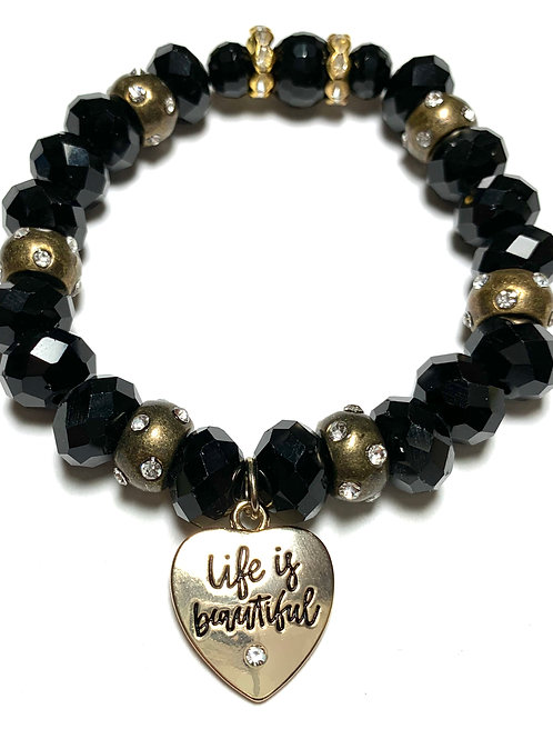 Life is Beautiful Heart Chunky crystals beads with bronze rhinestone connectors