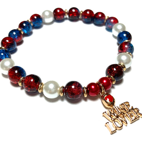 Fun Wine Lover Charm with mixed pearls and beads