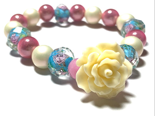 Pink and Blue natural mixed beads with large rose bead