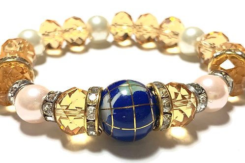 Healing Lapis Globe and gold toned crystal beads