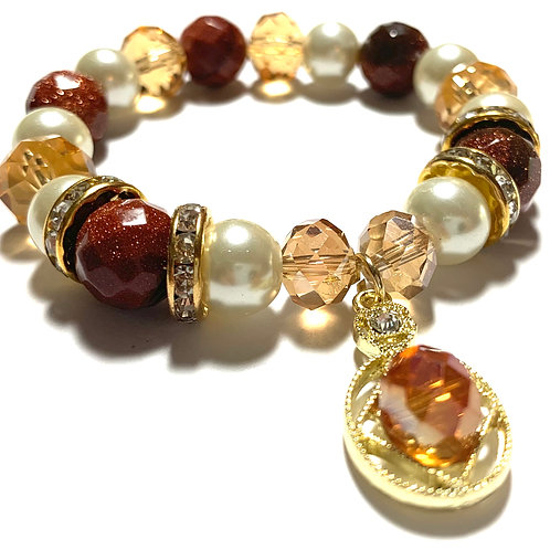Healing Gold Sandstone with gold tones and amber and pearl mixed beads