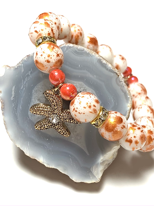Starfish and Cocktail charms with mixed beads