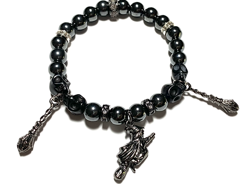 Healing Hematite with Witch and two broomsticks and skulls