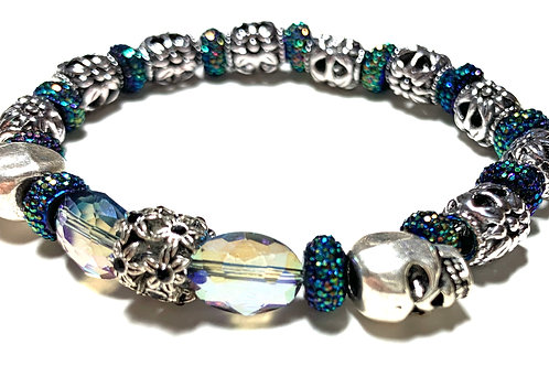 Silver toned metal skulls with mixed metal and crystal beads