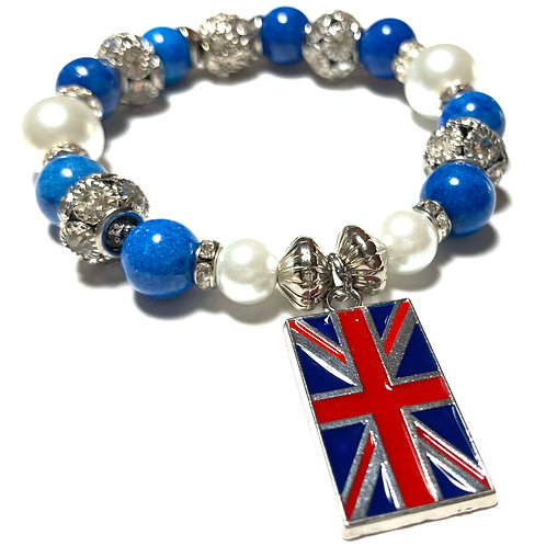 Glass pearls and Blue and rhinestone beads with Union Jack Charm