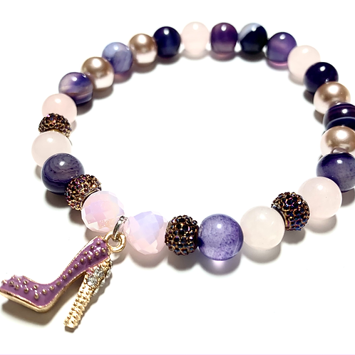 Rose Quartz and Purple Agate beads with purple shoe charm