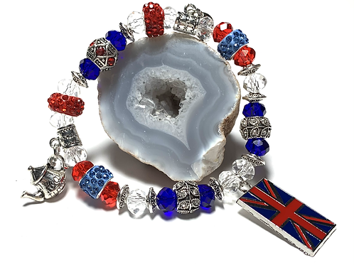Mixed Crystal beads and rhinestone with Teapot charms and Union Jack