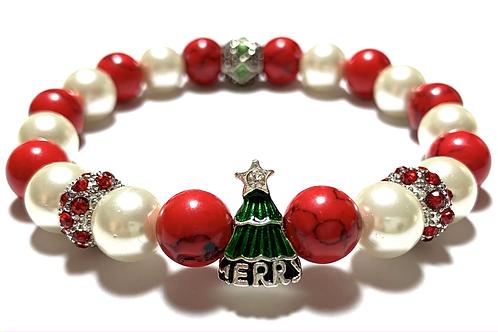 Enamel Christmas Tree charm with rhinestones and mixed beads