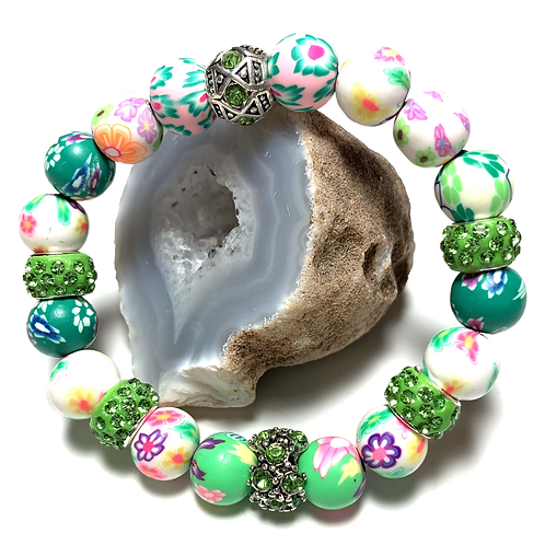 Floral beads with  Green rhinestone connectors
