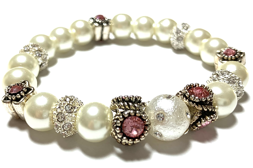 Pearls with Pink rhinestones