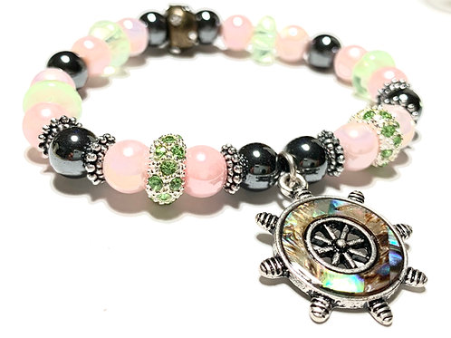 Mother of Pearl Captain's Ship wheel with hematite stones and mixed beads