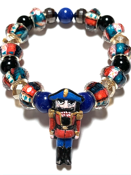 Blue Toned Nutcracker charm with mixed beads