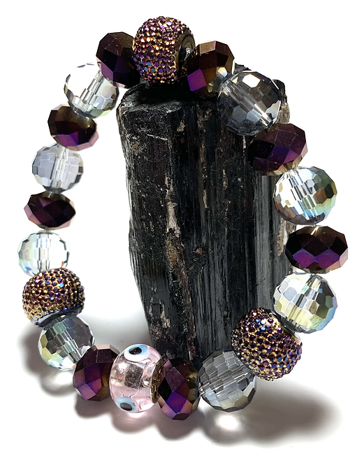 Chunky mixed Crystal beads with purple and browns with Evil Eye bead