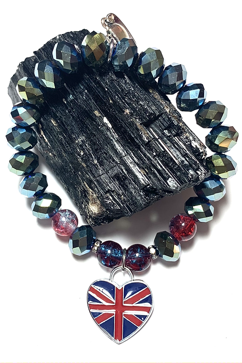 Union Jack Heart charm and metal teapot with crystal beads