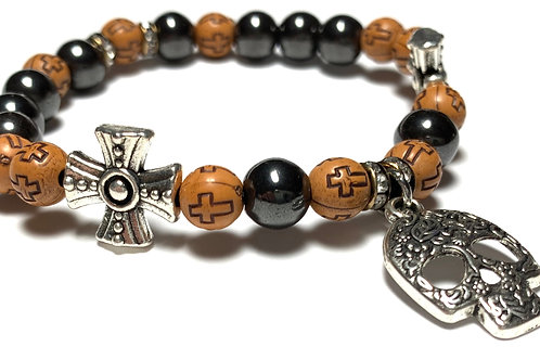 Healing Hematite with Filigree Skull Charm and cross beads and charms