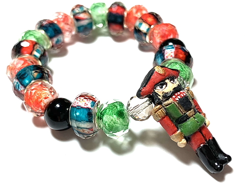 Nutcracker charm with mixed beads