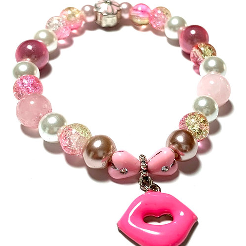 Pink Lips enamel lips charm with two Rose Quartz beads and pearls