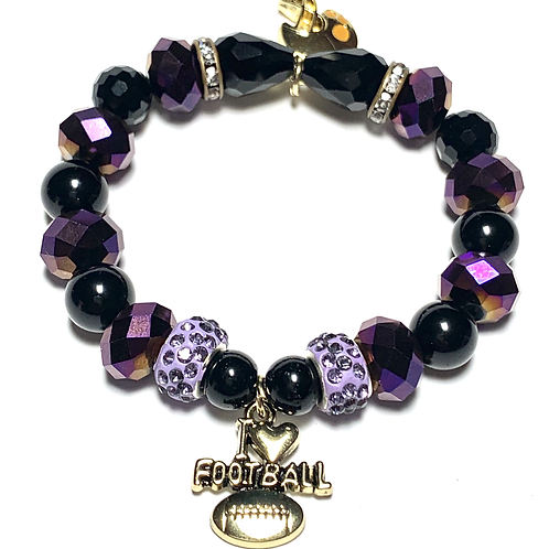 Black and Purple mixed beads with two football charms