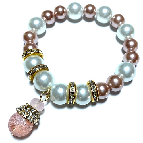 Chunky Pearls with Gold toned rhinestoned and pink hanging charm