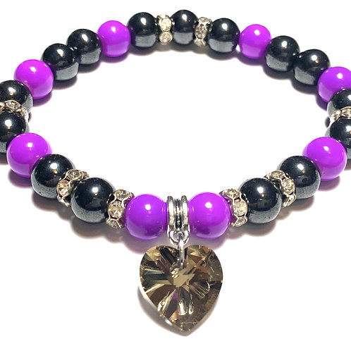Healing Hematite with purple beads and crystal heart hanging charm