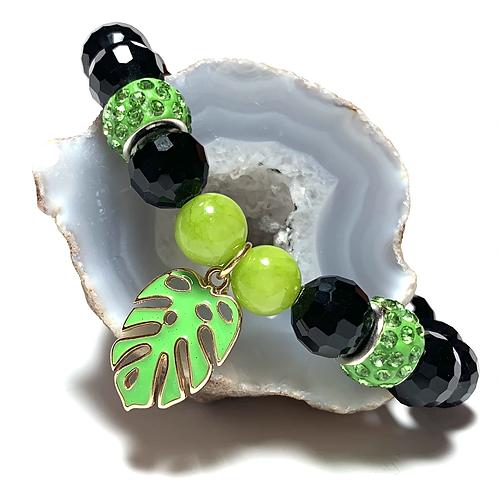 Palm leaf enamel charm with black crystal beads