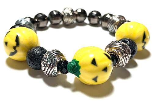 Fun Halloween one of kind 3 yellow Jack O'Lanterns with metal and crystal beads