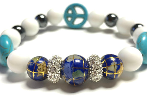 Healing Lapis Globe and Hematite with Turquoise Peace sign