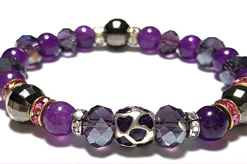 Mixed purple and crystal beads with rhinestone connectors