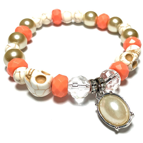 Natural beads with 2 skulls and Coral and pearl drop charm
