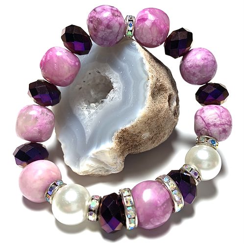 Chunky Purple Healing agate with pearls and rhinestones
