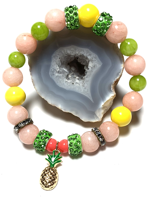 PineappleTropical charm with mixed semi precious beads
