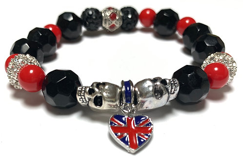 Black Crystal beads with silver toned skulls and union jack heart charm
