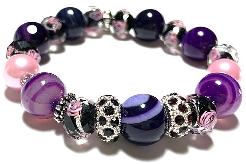 Purple Mixed beads with rhinestone connectors